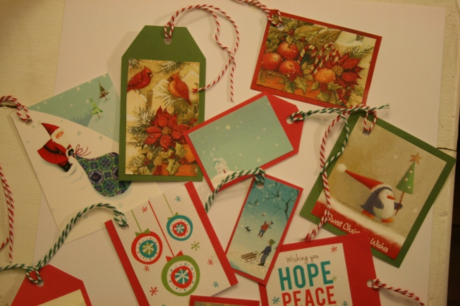 upcycle Christmas cards into gift tags